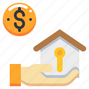 dollar, estate, hand, house, money, property, real icon
