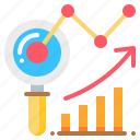 analysis, arrow, graph, magnify, marketing, report icon