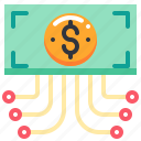 currency, data, dollar, flow, money icon