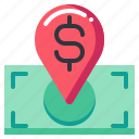 currency, dollar, mark, money, pin icon