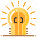 creative, door, idea, lightbulb, opportunity icon