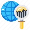 analysis, global, graph, magnify, report, research, world icon