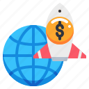 dollar, earth, global, launch, rocket, world icon
