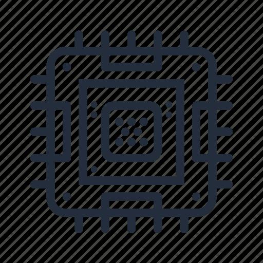 chip, computer component, cpu, market, stroke icon