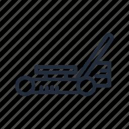garden machinery, lawn mower, market, stroke icon