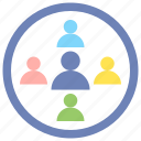 groups, heterogeneous, people, research icon
