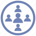 groups, homogenous, people, research icon