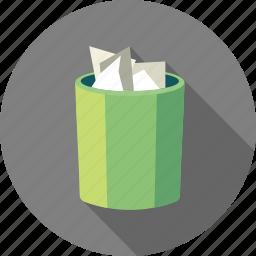 bin, delete, document, recycle, remove, trash icon