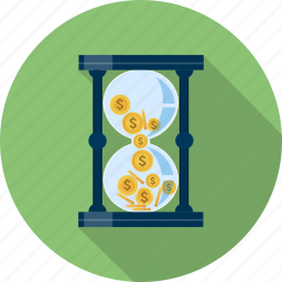 business, coin, finance, hourglass, making, money, time icon