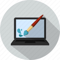 brush, drops, laptop, paint, splash icon