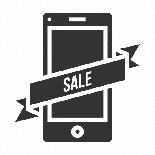label, mobile, ribbon, sale, shopping, sticker, tag icon