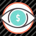 dollar, eye, marketing, see money, vision icon