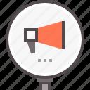 announcement, management, reputation, speaker, statement icon