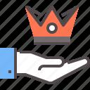 crowd, king, premium, royal, service icon