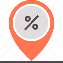 discount, map, mark, percentage, point icon