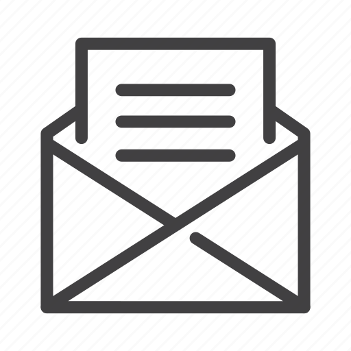 document, email, envelope, message, open icon