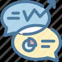 analysis, competive, diagram, graph, message bubble, report, statistics icon