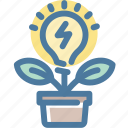 brainstorm, create, fresh, grow, idea, light bulb, plant icon