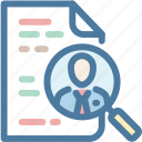 human resouces, job, magnifier, professional, resume, search, vacancy icon