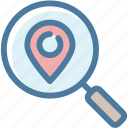 local seo, location, magnifier, map, marker, pin, search icon