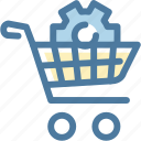 basket, cart, ecommerce, edit, gear, settings, shopping bag icon