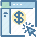 arrow, banking, check balances, click, dollar, ecommerce, online shopping icon