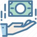 cash, donate, hand, money, payment icon