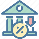 bank, currency, finance, interest, loss, rate icon