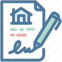 contact, house, mortgage, sign, signatureอ icon