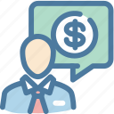 business, chat, finances, member, money icon