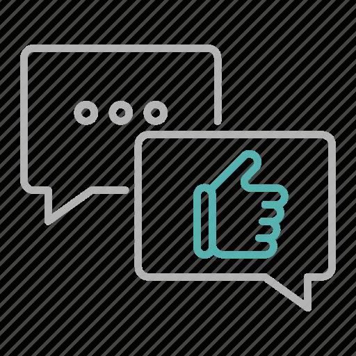 chat, feedback, like, marketing, positive icon
