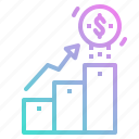 business, goal, graph, growth, steps icon