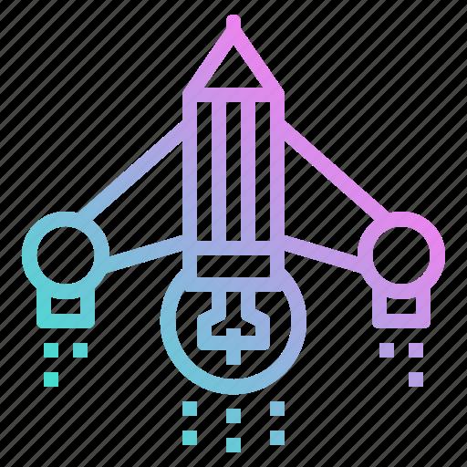 bulb, creative, idea, rocket, ship icon