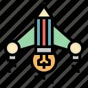 bulb, ship, idea, rocket, creative