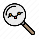 analysis, graph, research, statistics, zoom icon