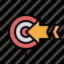 archer, archery, arrow, objective, target icon