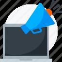 advertising, digital, laptop, marketing, megaphone, speaker icon icon