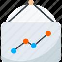 chalkboard, graph presentation, presentation board, seo analysis, seo graph icon icon