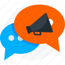 campaign, chat bubble, conversation, media, messages, social, social media campaign, talk icon icon