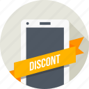 discount, label, mobile, ribbon, shopping, sticker, tag icon