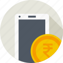 coin, currency, indian, mobile, money, payment, rupee