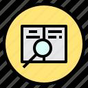 analysis, data, marketing, search icon