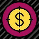 marketing, money, target icon