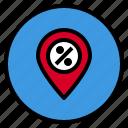 location, marketing, pin, sale icon