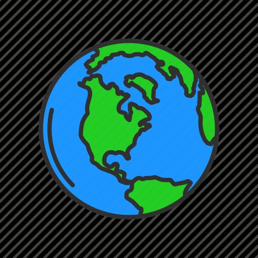 Globe map north america world icon Icon search engine