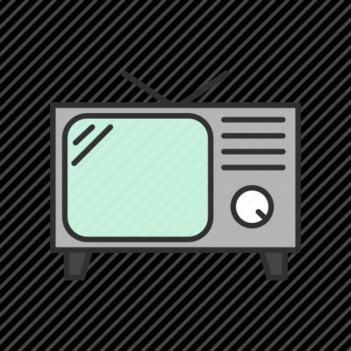media, old tv, television, tv icon