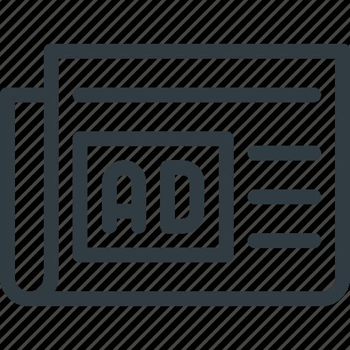 ad, advertising, marketing, newspaper icon