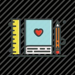 agenda, heart, notebook, pencil, ruler icon