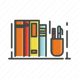 bookcase, books, pencil, shelf, writing tools icon