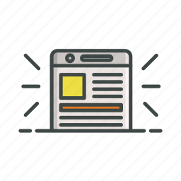 article, mobile, news, site, text icon